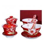 红釉珐琅瓷餐具 鸳鸯戏水