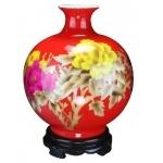 喜庆中国红镶金牡丹花瓶