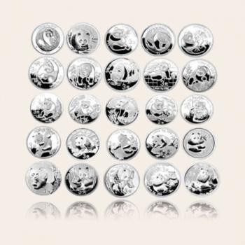 2007年中国熊猫金币发行25周年1/4盎司*25本银套币