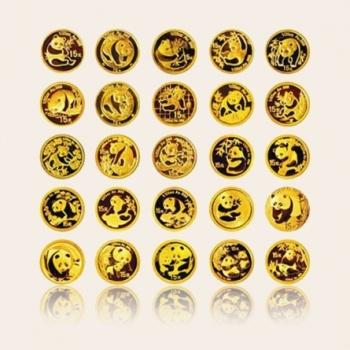 2007年中国熊猫金币发行25周年1/25盎司*25本金套币