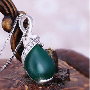 925纯银吊坠 女 绿玛瑙复古锆石项坠 正品坠子 赠项链