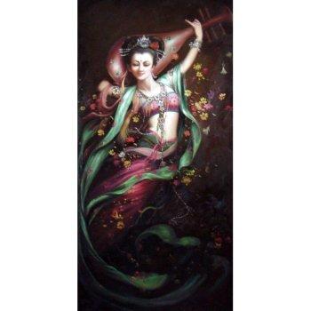 手绘装饰油画客厅玄关 现代有框画 佛教人物 敦煌飞仙