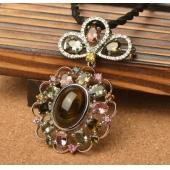 天然猫眼胸针 碧玺花朵项链吊坠子 手工精致项坠 两用银饰