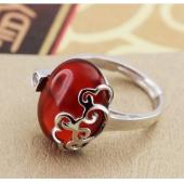 925纯银指环 云淡戒指 女复古民族风 红玛瑙开口戒指