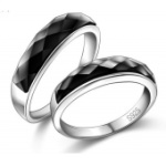 韩版创意 925纯银 黑玛瑙情侣戒指 黑瞳情侣对戒指 时尚对戒