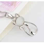 女 925纯银 韩国时尚猫眼石小猫咪锁骨链 OL饰品礼物  925纯银项链 锁骨链 可爱优雅款