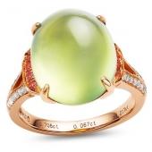 18K葡萄石钻石戒指 9克拉直径 嫩绿翡翠种 冰莹剔透