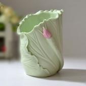 手工陶瓷清新荷叶花瓶 笔筒