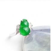 PT750铂金镶钻冰种翠绿天然A货翡翠戒指 AF2 10606535