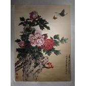 丝绸画牡丹真丝彩色立体织锦画