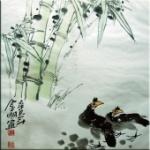 王金明手绘国画客厅书房装饰画 四君子之竹