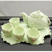 景德镇陶瓷器装饰品摆设家居用品工艺品荷叶小茶具套装