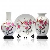 景德镇陶瓷器 水点桃花三件套花瓶 盘子
