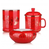 中国红瓷笔筒办公用品三件套 陶瓷茶杯笔筒