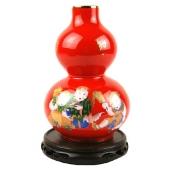 醴陵红婴戏图葫芦瓶