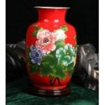 醴陵陶瓷台面牡丹花瓶 花开富贵