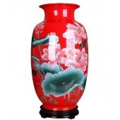 湖南醴陵红瓷大天球瓶 荣华富贵