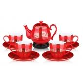 中国红瓷九头金龙万寿茶具套装