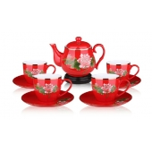 中国红瓷器牡丹九头骨瓷茶具套装