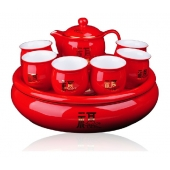 中国红瓷福如东海茶具套装