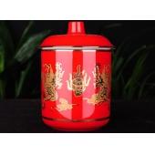 湖南醴陵红瓷杯双龙戏珠