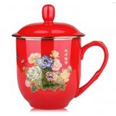 千红窑花开富贵创意带盖水杯醴陵红瓷陶瓷杯