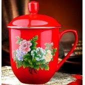 老板王牡丹茶杯带盖