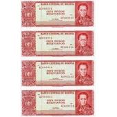 玻利维亚100 Pesos Bolivianos四连体钞