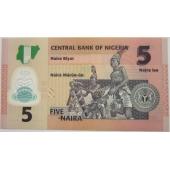 尼日利亚5奈拉2009年新版单张(流通塑料钞)