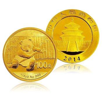 2014年熊猫金币 1/4盎司 圆形金币