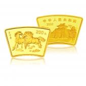 2002年壬午马年 生肖扇形本金银套币(1/2盎司金+1盎司银)