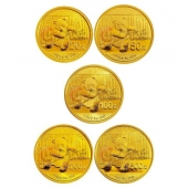 2014年熊猫金币套装 5枚套装