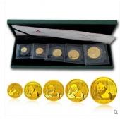 2015年熊猫金币套装1+1/2+1/4+1/10+1/20 金猫套装 15年熊猫金银币