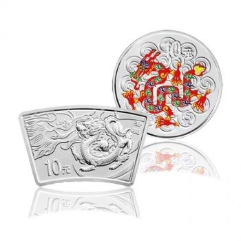 2012年中国壬辰龙年生肖彩银+扇银1盎司套币 (2*1盎司)
