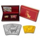 2015年羊年金银纪念币 1/3盎司扇形金币+1盎司扇形银币