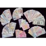 外國紙幣105張 世界錢幣收藏品 含塑料鈔 美元 外幣大全 紙幣收藏冊創意禮品 送冊子
