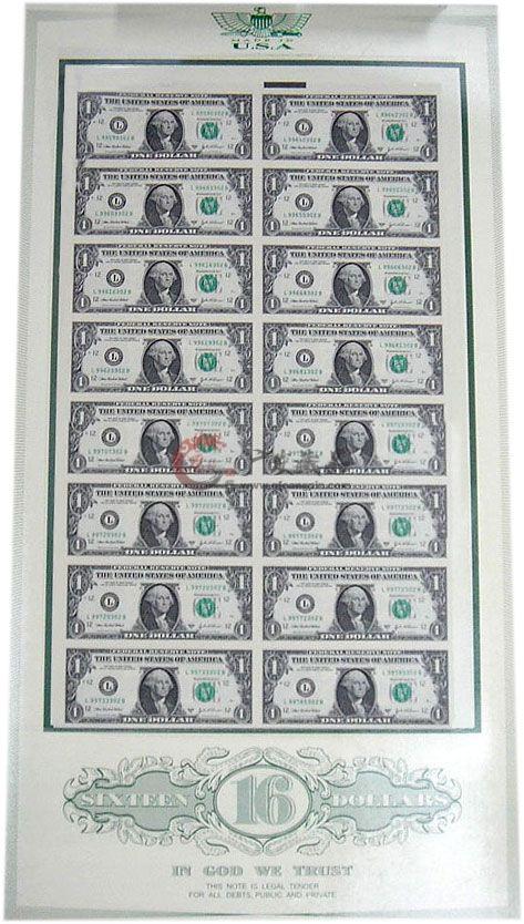 1美元16连体整版钞