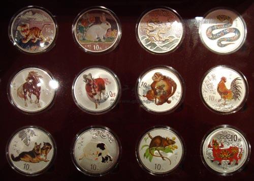 1998-2009十二生肖1盎司彩色银币大全套