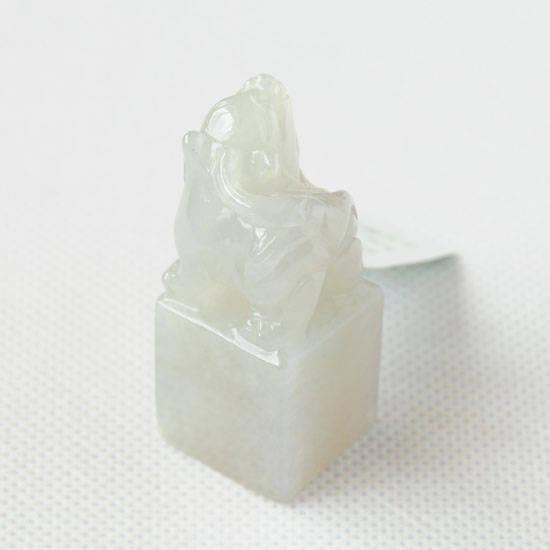 老坑冰糯种淡青天然翡翠A货貔貅印章