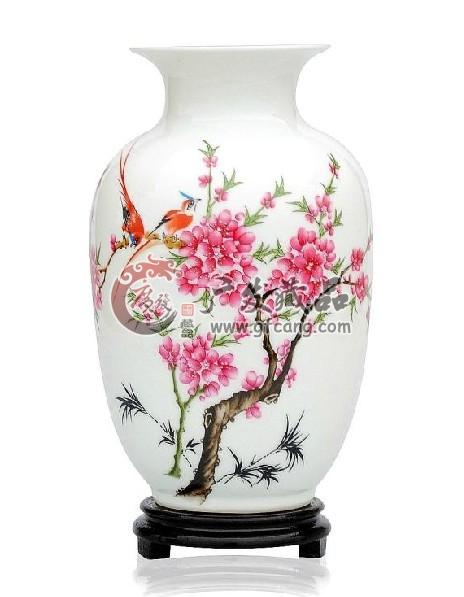 景德镇瓷器瓷瓶台面花瓶工艺品摆件 水点桃花
