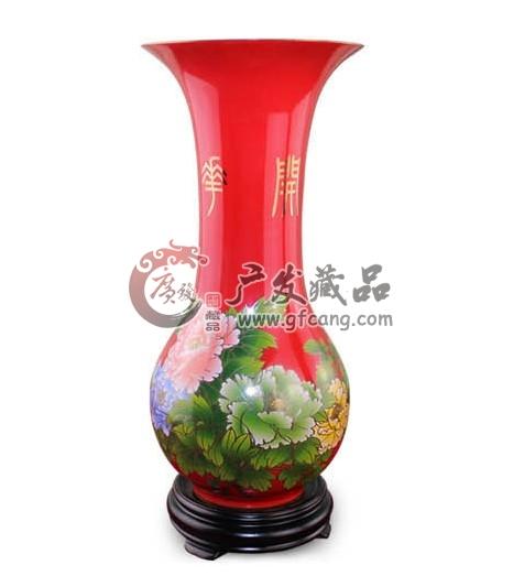 醴陵中国红瓷巴拿马花瓶