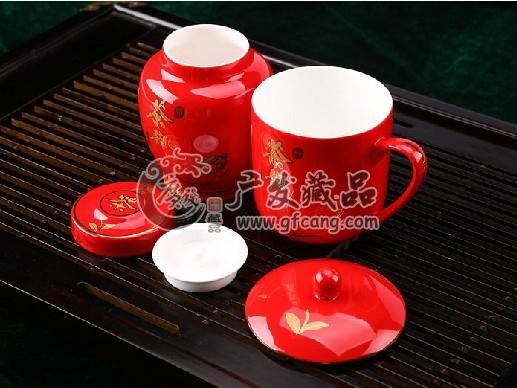 醴陵红瓷茶杯