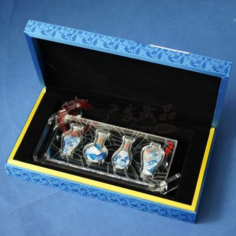 四季平安青花瓷彩色银条