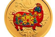 鉴赏2019中国己亥(猪)年3克圆形彩色金币