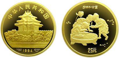 中国古代名画子孙和合图1/4盎司金币收藏价值分析