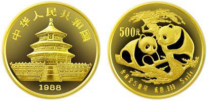 1988年版5盎司精制熊猫金币500元