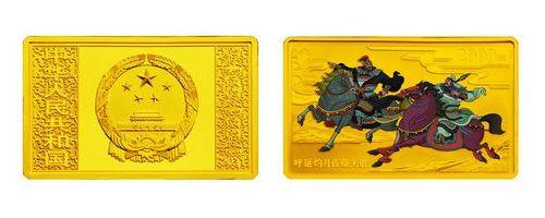 2011年5盎司《水浒传》第3组长方形彩色金币收藏价值怎么样